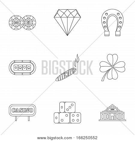 Casino game icons set. Outline illustration of 9 casino game vector icons for web
