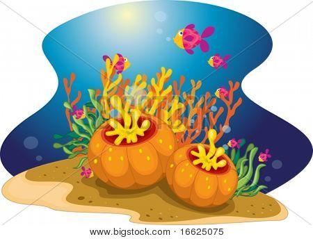 A colourful school of fish swimming past sea plants