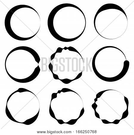 Set Of 9 Circle With Irregular Lines