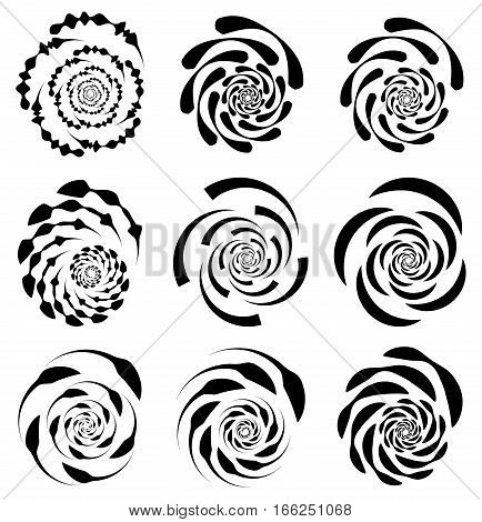 Spiral, Rotating Shape, Element Set With 9 Different Version