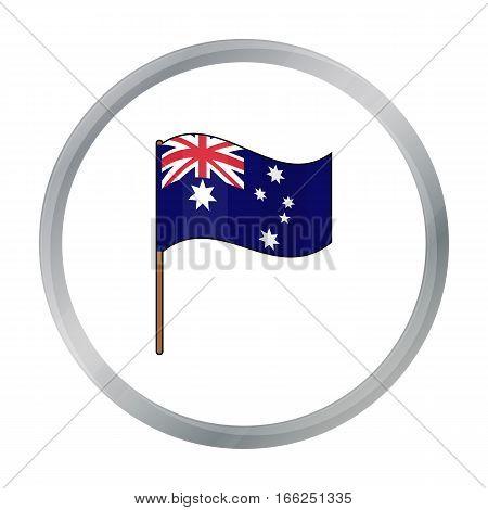 Australian flag icon in cartoon design isolated on white background. Australia symbol stock vector illustration. - stock vector