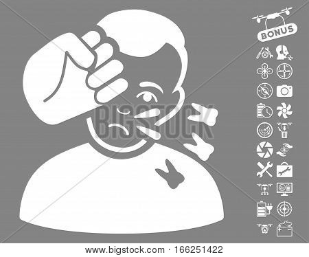 Head Strike pictograph with bonus airdrone tools images. Vector illustration style is flat iconic white symbols on gray background. poster