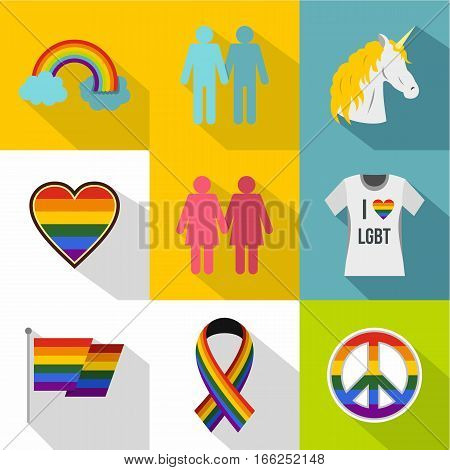 LGBT icons set. Flat illustration of 9 LGBT vector icons for web