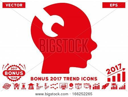 Red Brain Wrench Tool icon with bonus 2017 trend icon set. Vector illustration style is flat iconic symbols, white background.