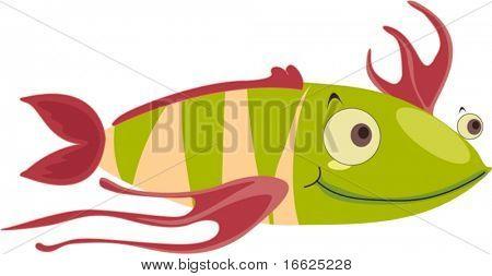 Strange green striped happy fish