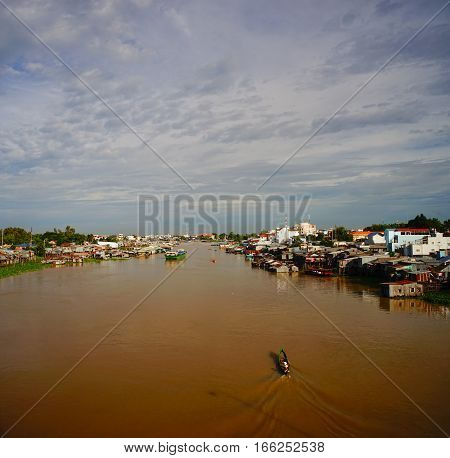 Floating Village And Fishing Boats In Vietnam