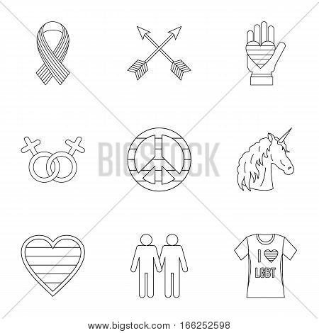 Gays and lesbians icons set. Outline illustration of 9 gays and lesbians vector icons for web