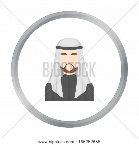 Sheikh icon in cartoon style isolated on white background. Arab Emirates symbol vector illustration. - stock vector
