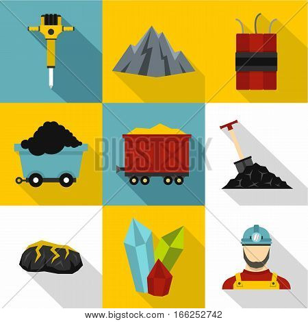 Coal icons set. Flat illustration of 9 coal vector icons for web