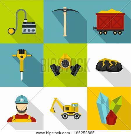 Coal mining icons set. Flat illustration of 9 coal mining vector icons for web