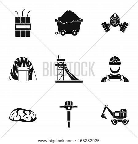 Coal icons set. Simple illustration of 9 coal vector icons for web