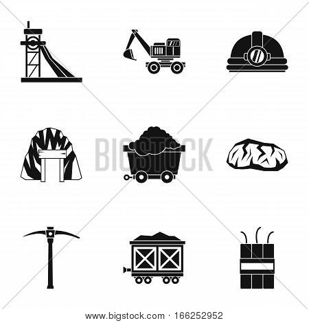 Mining activities icons set. Simple illustration of 9 mining activities vector icons for web