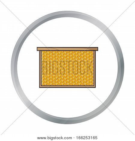 Frame with honeycomb icon in cartoon style isolated on white background. Apiary symbol vector illustration - stock vector