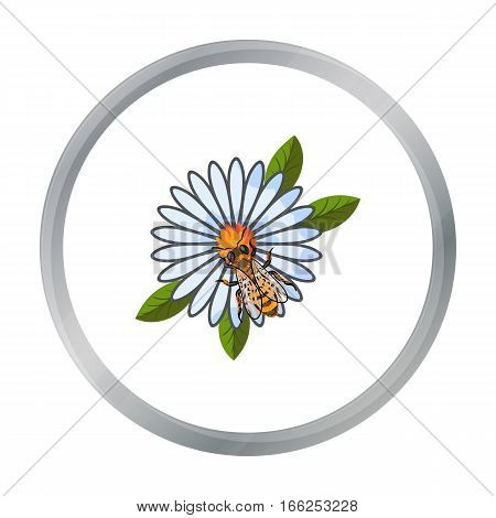 Bee on the flower icon in cartoon style isolated on white background. Apiary symbol vector illustration - stock vector