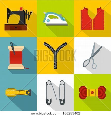 Accessories for sewing workshop icons set. Flat illustration of 9 accessories for sewing workshop vector icons for web