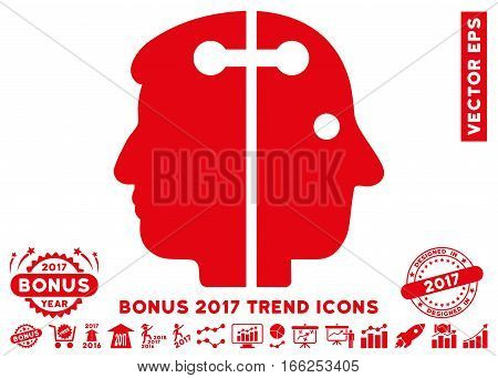 Red Dual Head Connection pictograph with bonus 2017 year trend elements. Vector illustration style is flat iconic symbols, white background.