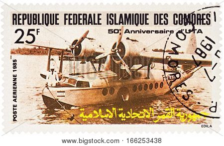 MOSCOW RUSSIA - January 20 2017: A stamp printed in Comoros shows aircraft Sikorsky S-43 Amphibian (1935) series