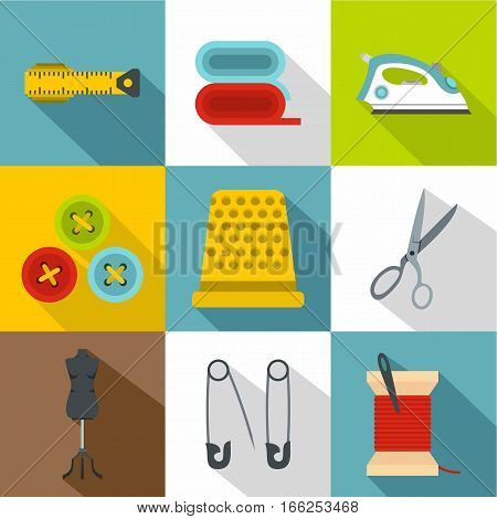 Tools for sewing dresses icons set. Flat illustration of 9 tools for sewing dresses vector icons for web