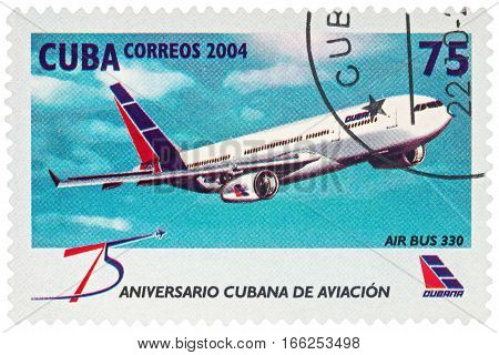 MOSCOW RUSSIA - January 16 2017: A stamp printed in Cuba shows passenger aircraft Air Bus 330 series