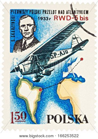 MOSCOW RUSSIA - January 23 2017: A stamp printed in Poland shows Stanislaw Skarzynski (the first Polish transatlantic flight in 1933) series