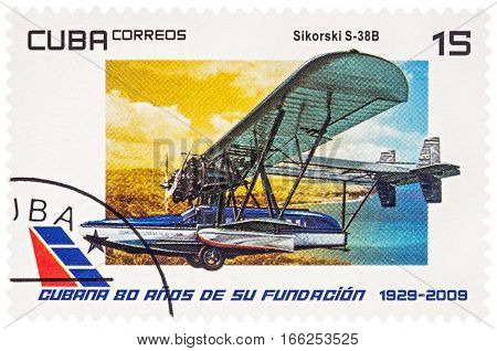 MOSCOW RUSSIA - January 18 2017: A stamp printed in Cuba shows amphibious aircraft Sikorsky S-38B (1929) series