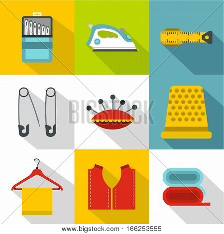 Embroidery kit icons set. Flat illustration of 9 embroidery kit vector icons for web