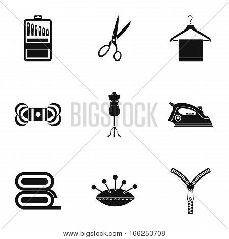 Sewing supplies icons set. Simple illustration of 9 sewing supplies vector icons for web