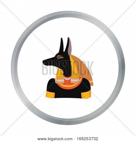 Anubis icon in cartoon style isolated on white background. Ancient Egypt symbol vector illustration. - stock vector