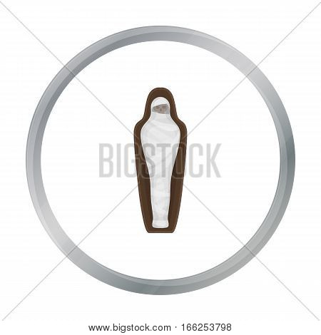 Ancient mummy icon in cartoon style isolated on white background. Ancient Egypt symbol vector illustration. - stock vector