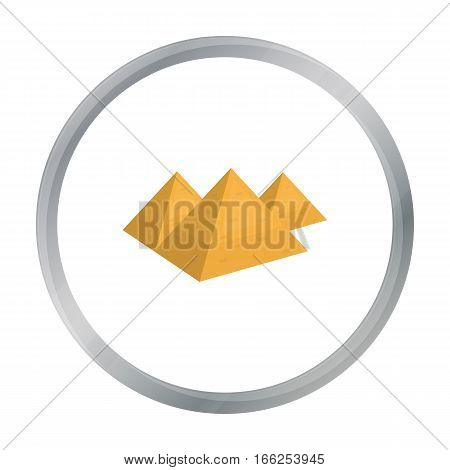 Egyptian pyramids icon in cartoon style isolated on white background. Ancient Egypt symbol vector illustration. - stock vector
