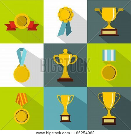 Victory icons set. Flat illustration of 9 victory vector icons for web