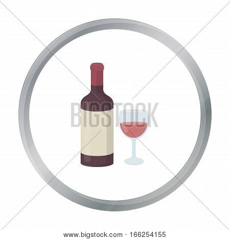Red wine icon in cartoon style isolated on white background. Alcohol symbol vector illustration. - stock vector