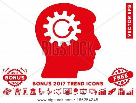 Red Head Gear Rotation icon with bonus 2017 year trend pictograms. Vector illustration style is flat iconic symbols, white background.