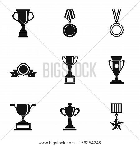 Rewarding icons set. Simple illustration of 9 rewarding vector icons for web