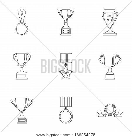 Championship icons set. Outline illustration of 9 championship vector icons for web