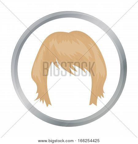 Woman s hairstyle icon in cartoon style isolated on white background. Beard symbol vector illustration. - stock vector
