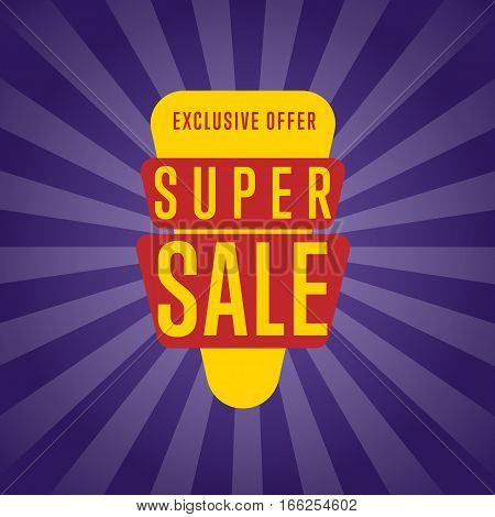 Super sale discount sticker isolated vector illustration. Exclusive offer tag, price discount promo, super offer ad, advertisement retail label, special shopping symbol. Modern style offer sign on purple rays background.