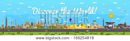 Discover the World poster with famous attractions vector illustration. Torii Gate, Statue of Liberty, Big Ben, Fujiyama, Eiffel Tower and others architecture. Worldwide traveling, time to travel