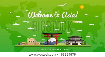 Welcome to Asia poster with famous attractions vector illustration. Travel design with Torii gate, Fujiyama mountain, ancient temple, pagoda. Worldwide traveling, time to travel, discover new places