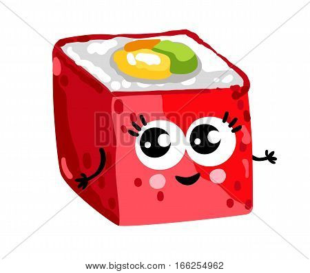Cute sushi roll cartoon character isolated on white background vector illustration. Funny japanese seafood sushi emoticon face icon. Happy smile cartoon face food, comical sushi roll animated mascot