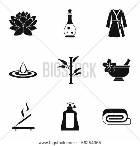 Relaxation icons set. Simple illustration of 9 relaxation vector icons for web