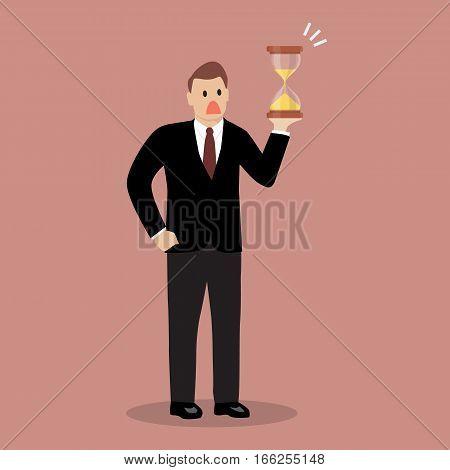 Businessman is holding sandglass. Business deadline concept