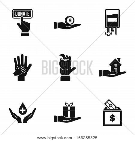Patronage icons set. Simple illustration of 9 patronage vector icons for web