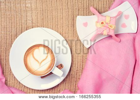 Coffee With Pink Scarf. Valentines Concept. Rustic Style. Flat Lay View. Gift Style Cake.