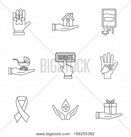 Donation icons set. Outline illustration of 9 donation vector icons for web