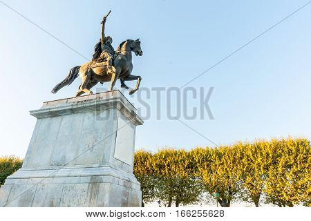 Low angle point of view King Louis X1V in Jardin de Peyrou Montpellier France
