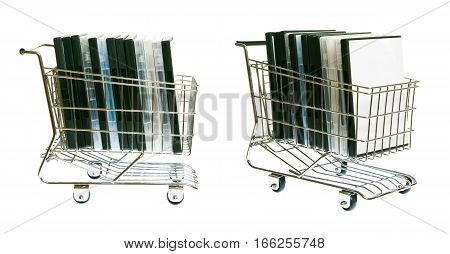 a shopping cart full with  dvds - side and diagonal view.