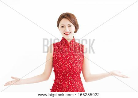 happy chinese new year woman with presentation gesture