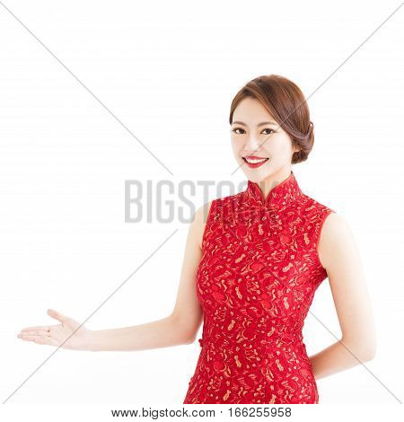 happy chinese new year woman with showing gesture