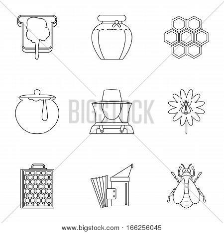 Beekeeping icons set. Outline illustration of 9 beekeeping vector icons for web